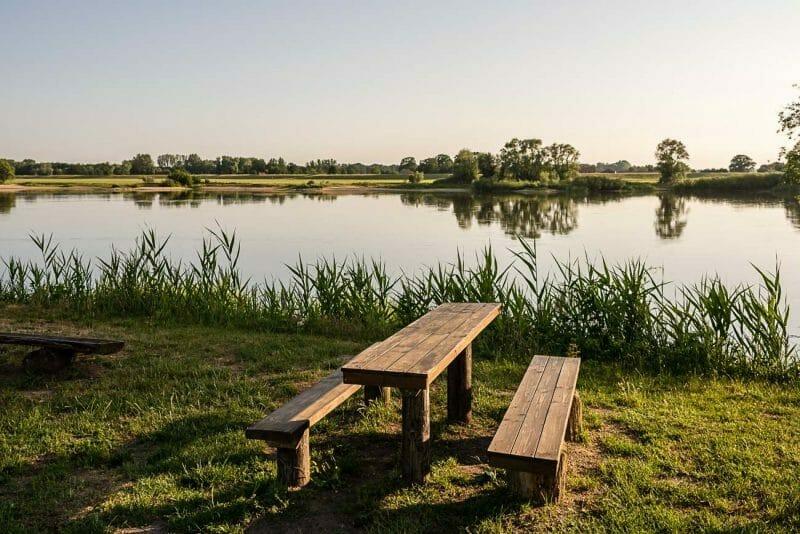 idyllischer Elbblick in Brandenburg, Tourismus Fotoshooting, Kurs-Elbe
